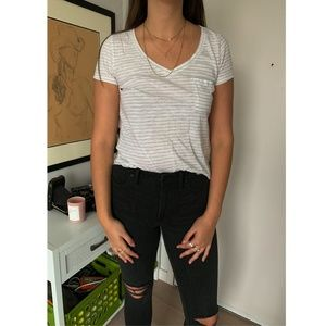 NWOT A&F White and Grey Striped V-Neck Pocket Tee